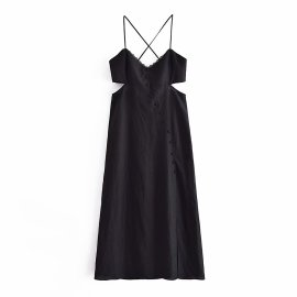 Hollow Sling Dress Nihaostyles Wholesale Clothing Vendor NSAM74157