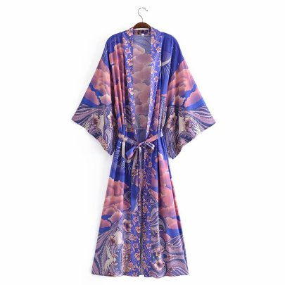 Loose Positioning Printing Belt Kimono Dress Nihaostyles Wholesale Clothing Vendor NSAM74159