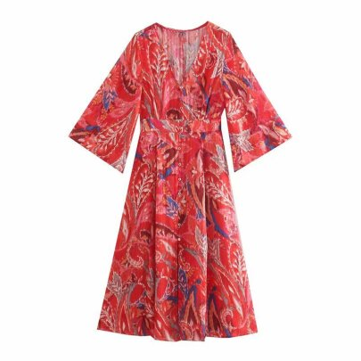 V Neck Waist Slimming Single-breasted Red Metallic Thread Printed Dress Nihaostyles Wholesale Clothing Vendor NSAM74163