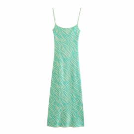 Jacquard Knitted Animal Print Slim Backless Suspender Dress Nihaostyles Wholesale Clothing Vendor NSAM74168