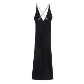 Base Black Long French Sling Dress Nihaostyles Wholesale Clothing Vendor NSAM74171