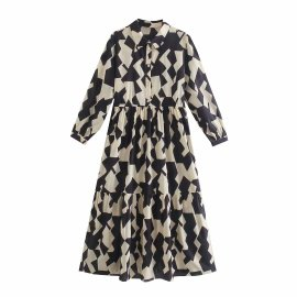 Print Midi Long Sleeve Dress Nihaostyles Wholesale Clothing Vendor NSAM74175