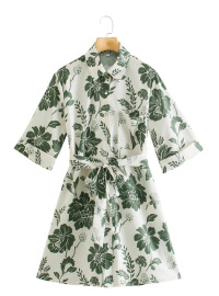 Bowknot Flower Print Five-point Sleeve Dress Nihaostyles Wholesale Clothing Vendor NSAM74177
