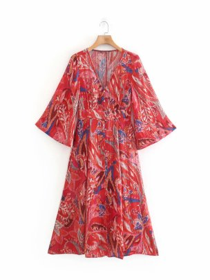 V Collar Waist Slimming Single-breasted Red Metallic Thread Printed Dress Nihaostyles Wholesale Clothing Vendor NSAM74186