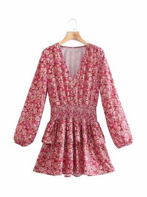 V-neck Loose Waist Printed Mini Dress Nihaostyles Wholesale Clothing Vendor NSAM74188