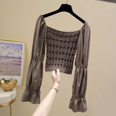 Flat-shoulder Croppedshirt Stitching Chiffon Top Nihaostyles Wholesale Clothing Vendor NSYID74943