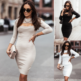 Fashion Knitted Long-sleeved Slim Bottoming Dress Nihaostyles Wholesale Clothing Vendor NSOUY74940