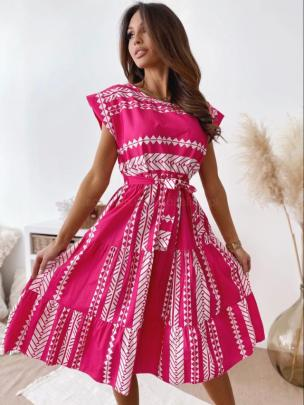 Round Neck Short-sleeved Diamond Check Dress Nihaostyles Wholesale Clothing Vendor NSYD74224