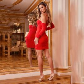 Women's Long-sleeved Sling Mesh One-shoulder Dress Nihaostyles Clothing Wholesale NSYBN74230
