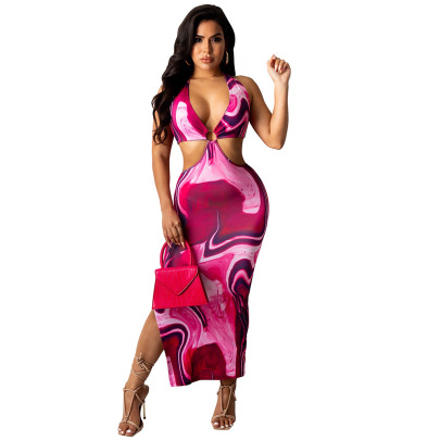 Women's V-neck Bare Belly Dress Nihaostyles Clothing Wholesale NSTYF74239