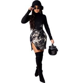 Women's Pullover Tie-dye Side Zipper Dress Nihaostyles Clothing Wholesale NSTYF74242