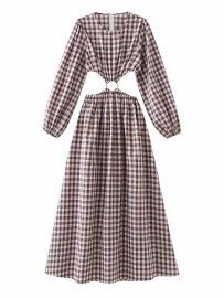 Women's Round Neck Lattice Halter Backless Lantern Sleeve Dress Nihaostyles Clothing Wholesale NSAM74263