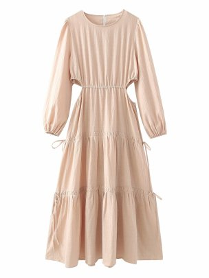 Women's Lace-up Round Neck Dress With Open Waist Nihaostyles Clothing Wholesale NSAM74265