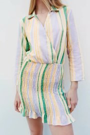 Women's Lapel Double-breasted Mini Striped Dress Nihaostyles Clothing Wholesale NSAM74267
