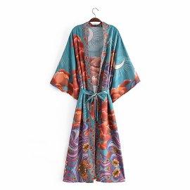 Women's Loose Waist Tie Flower Printed Cardigan Nihaostyles Clothing Wholesale NSAM74268