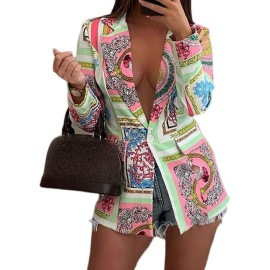 Women's Long-sleeved Printed Suit Jacket Nihaostyles Clothing Wholesale NSYF74274
