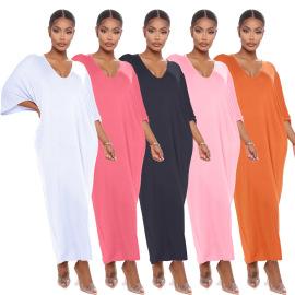 Fashion Solid Color Deep V Loose Dress Nihaostyles Wholesale Clothing Vendor NSOJS74281