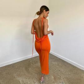Women's Hollow Halter Strap Dress Nihaostyles Clothing Wholesale NSFR74283