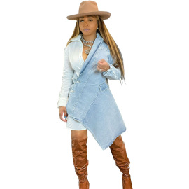 Fashion Sexy Denim Irregular Stitching Dress Nihaostyles Wholesale Clothing Vendor NSSJW74288