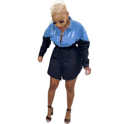Stitching Color Single-breasted Denim Dress Nihaostyles Wholesale Clothing Vendor NSSJW74289