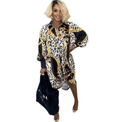 V-neck Loose Printed Single Breasted Hem Stretchable Dress Nihaostyles Wholesale Clothing Vendor NSSJW74295