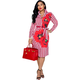Sexy V-neck Striped Printed Single Breasted Dress Nihaostyles Wholesale Clothing Vendor NSSJW74297