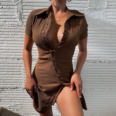 Women's Solid Color Polo Collar Short Sleeve Dress Nihaostyles Clothing Wholesale NSXPF74329