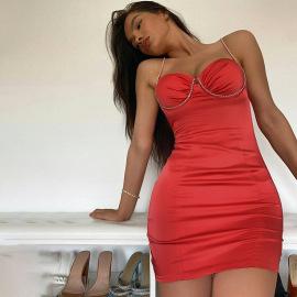 Women's Sling V-neck Dress Nihaostyles Clothing Wholesale NSXPF74336