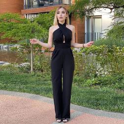 Women's Cross Halter Sleeveless Jumpsuit Nihaostyles Clothing Wholesale NSXPF74348