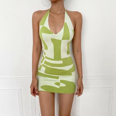 Color Matching V-neck Halterneck Sexy Dress Nihaostyles Wholesale Clothing Vendor NSRUI74371