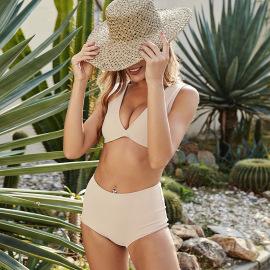 Solid Color Split Sexy V-neck Vest Halter Swimsuit Bikini Nihaostyles Wholesale Clothing Vendor NSLM74413