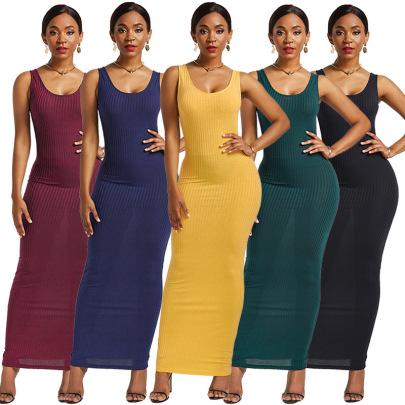 Solid Color Slim Knit Sleeveless Vest Cotton Dress Nihaostyles Wholesale Clothing Vendor NSLM74415