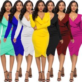 V-neck Ruffled Long-sleeved Dress Nihaostyles Wholesale Clothing Vendor NSLM74418