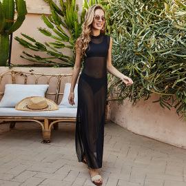 V-neck Beach See-through Split Beach Dress Nihaostyles Wholesale Clothing Vendor NSLM74420