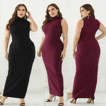 Puls Size Sleeveless High-waist Long Polyester-cotton Pit Strip Dress Nihaostyles Wholesale Clothing Vendor NSLM74421