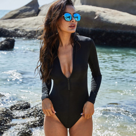 Zipper Long-sleeved Triangle Long-sleeved One-piece Swimsuit Nihaostyles Wholesale Clothing Vendor NSLM74423