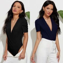 Deep V-neck Pleated Sleeves Slim Solid Color Bodysuit Nihaostyles Wholesale Clothing Vendor NSLM74424