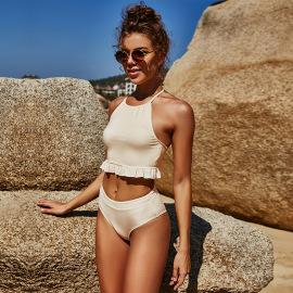 Solid Color Split Ruffled Halterneck Bikini Two-piece Swimsuit Nihaostyles Wholesale Clothing Vendor NSLM74427