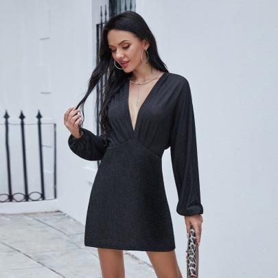 Deep V-neck Long-sleeved High-waist Metal Silk Nightclub Dress Nihaostyles Wholesale Clothing Vendor NSLM74431