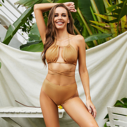 Sexy High-waisted Strapless Split Solid Color Hollow Swimsuit Bikini Nihaostyles Wholesale Clothing Vendor NSLM74438