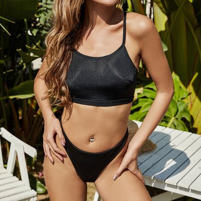 Solid Color Black Cross Backless Split Swimsuit Nihaostyles Wholesale Clothing Vendor NSLM74447
