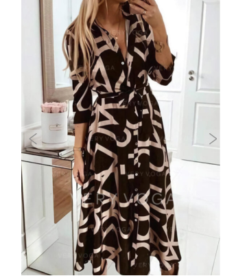 Plus Size Printed Long-sleeved Dress Nihaostyles Wholesale Clothing Vendor NSOUY74936