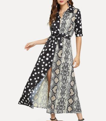 Striped Polka Dot Color Block Sleeve Dress Nihaostyles Wholesale Clothing Vendor NSOUY74935
