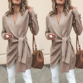 New Solid Color Imitation Deerskin Velvet V-neck Belt Mid-length Casual Jacket Nihaostyles Wholesale Clothing Vendor NSOUY74934