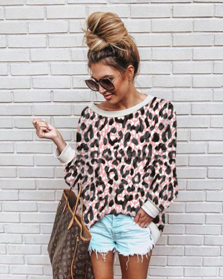 Printed Leopard Print Flower Loose Top Nihaostyles Wholesale Clothing Vendor NSOUY74932