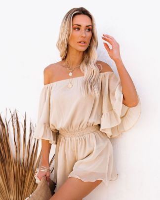 Stitching Short-sleeved Loose-fitting Pure Color Chiffon Jumpsuit Nihaostyles Wholesale Clothing Vendor NSOUY74931