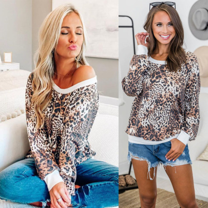 Printed Leopard Print Loose Top Nihaostyles Wholesale Clothing Vendor NSOUY74929