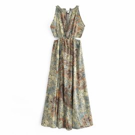 Women's Hollow Printed Dress Nihaostyles Clothing Wholesale NSAM74254