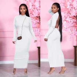 Women's Halter Long-sleeved Gloved Dress Nihaostyles Clothing Wholesale NSWNY74478