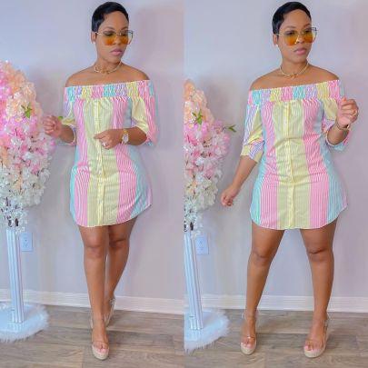 Women's Irregular Color Short Sleeve Dress Nihaostyles Clothing Wholesale NSWNY74481